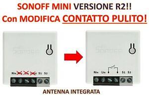 Sonoff MINI modificato contatto pulito nuova versione R2, apriporta, caldaia