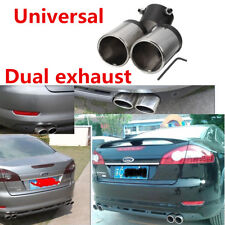 Car Stainless Steel Exhaust Pipe Chrome Muffler Tip Tail Y-Pipe Dual Pipes New