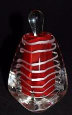 Art Glass Clear Red, White Lines, Triangle Perfume Bottle, 5 1/4""