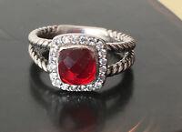 Designer Inspired Sterling Silver Garnet Petite Albion Ring Size 7 8 9