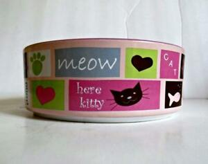 """PetRageous Designs Pink """"Here Kitty"""" Stoneware Food Water Bowl"""