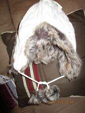 Winter Peruvian earflap cable knit hat , micro fleece lined, faux fur trim,NEW