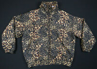NWOT Vintage EVR 80s 90s Animal Print Silk Black Gold Full Zip Bomber Jacket L