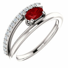 Chatham Created Ruby & 1/8 CTW Diamond Bypass Ring In Platinum