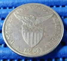 1903 Filipinas Philippines United States of America 1 One Peso Silver Coin