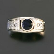 BLUE SAPPHIRE DIAMOND RING | 1 CTW, 18K WHITE GOLD, SIZE 8.5