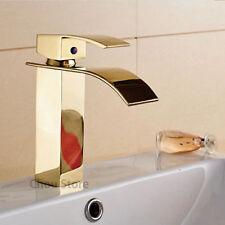 Gold Polished Waterfall Bathroom Tap Single Handle Wash Basin Faucet Sink Mixer