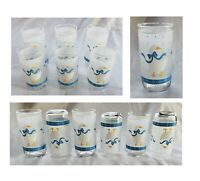 VINTAGE Libbey Drinking Glass Tumblers 10 oz & 16 oz GEESE Frosted Band Set of 6