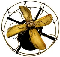 Round Antique Brass Vintage Collectible Old Functional Electrical Desk Fan WF 01