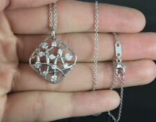 Hearts On Fire Brocade 18K White Gold Round Diamond Pendant 18'' Necklace