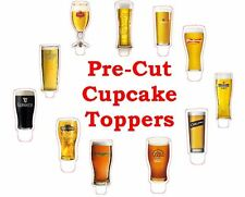 pint larger beer cider X24 edible stand up cup cake toppers wafer paper *pre-cut