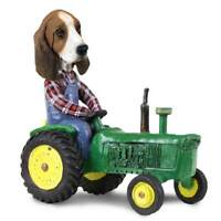 Basset Hound on a Tractor Stone Resin Figurine Statue