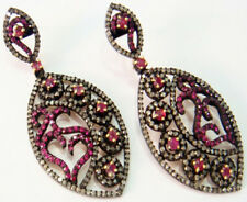 Victorian Look 925 Silver Dangler Earring 4.25cts Rose Cut Diamond Ruby Antique