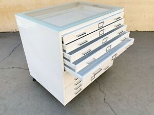 """Vintage Flat File """"Double Stack"""" Cabinet Table, Refinished to Order with Glass"""