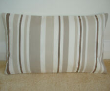 """20""""x12"""" Oblong Bolster Cushion Cover Stripes Neutrals Beige Cream Taupe Brown"""