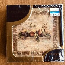 """Pimpernel Premier ENGLAND Collection """"Tuscan Palette"""" Coasters 4.25"""" New/SEALED"""