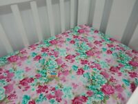 Floral Cot Sheet Fitted Angelica Pink Pure Cotton Fits to 70x130cm mattress