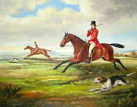 Charming oil painting male portrait count horseman on red horse with dog Hound