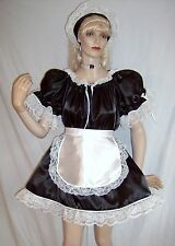 ADULT SISSY BABY DELUXE FRENCH MAID 4PC DRESS COSTUME W/ATTACHED CRINOLINE SLIP