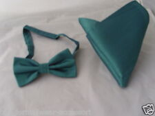 Mens Teal Green Polyester Pre-tied Bow tie & Hankie Set-Many Colours R Available