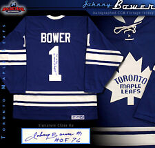 JOHNNY BOWER Signed & Inscribed Toronto Maple Leafs CCM Blue Vintage Jersey