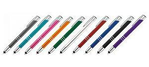 10 Touchpen Kugelschreiber aus Metall / 10 verschiedene Farben