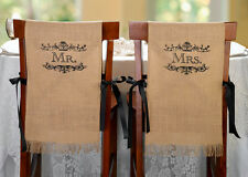 Mr. and Mrs. Burlap Chair Covers Wedding Decoration Vintage Country Theme