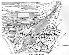 RAILWAY HISTORY ENGINEERING PLAN STRATFORD LOCOMOTIVE WORKS 1940s VINTAGE PRINT