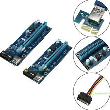 USB 3.0 PCI-E Express 1x to16x Extender Riser Card Adapter SATA Power Cable 60cm