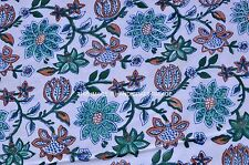 Hand Block Floral Print White Color Yards Natural 100% Indian Cotton Fabric