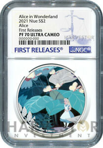 2021 ALICE IN WONDERLAND - ALICE - 1 OZ. SILVER COIN - NGC PF70 FIRST RELEASE