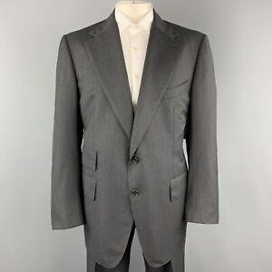 TOM FORD Size 50 Charcoal Wool Herringbone Notch Lapel Suit