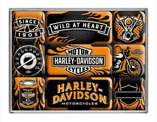 9 pc Magnet Set 'HARLEY DAVIDSON MOTORCYCLES' WILD AT HEART Licensed Product