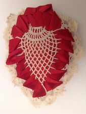 Vintage Art Deco Pincushion Handmade Heart Crochet With Satin Ribbon