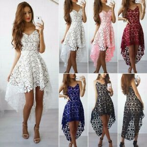 UK Womens Lace Evening Party Ball Prom Gown Formal Cocktail Wedding Short Dress