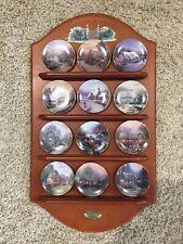 "Thomas Kinkade's Enchanted Seasons Miniature 3 1/2"" Plates And Display Shelf"
