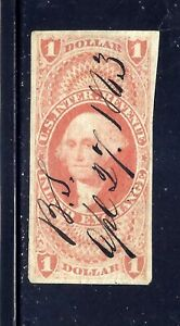US Stamps - #R69a -  USED - $1 Imperf Inland Exchange Revenue Issue -  CV $17