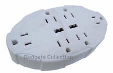 6 Outlets Multiplier + USB Ports Universal Electrical Power Plug Adapter US SHIP