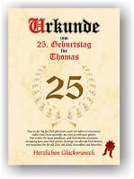 Urkunde zum 25. Geburtstag Geschenkidee Geburtstagsurkunde Namensdruck Deko Bild