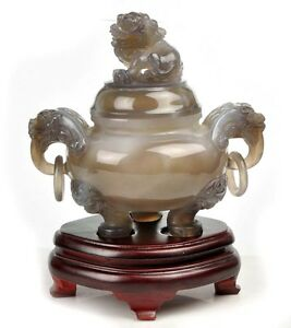 Natural Sardonyx / Agate Chinese Censer Statue / Carving / Sculpture