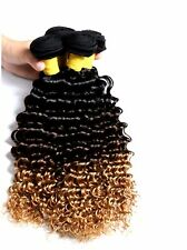 "8A Brazilian Human Hair Extensions, Dip-dye Ombre 3 -Tone Curly Weave, 12"" - 28"""