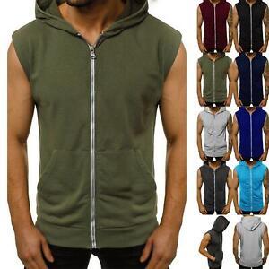 Mens Sleeveless Sweatshirt Zip Up Gillet Hoodie Hooded Lightweight Hoody Top