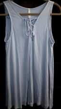 Classy Tie Front Flowy Tunic by MittoShop- Small- Light Blue- New Without Tags!