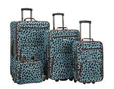 ROCKLAND 4 PC BLUE LEOPARD LUGGAGE SET BLUELEOPARD F125-BLUELEOPARD Luggage NEW