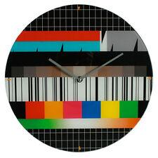 Orologio da parete Televosore Distorto Stile Retrò in Vetro Diametro 34 cm Nero