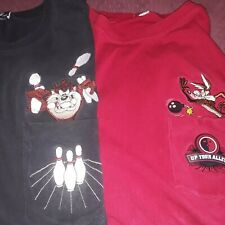 2 Vintage Warner Bros. Coyote Up Your Alley And Taz Bowling Shirt Size M.