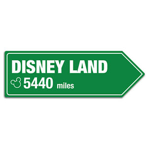 Metal Wall Sign - Personalised Various Disney Resort Distance Gift Arrow Plaques