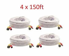 *Premium Quality 4x 150ft White Video Power BNC Cable  CCTV Security hd Cameras