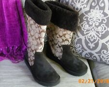 Coach Boots, Suede Shearling Designer Leather Boots, Women's Boots, 5.5 M, NWOT
