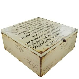 Footprints in The Sand Memory Keepsake Box The Lord Will Always Wooden SG1841